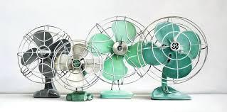 painting four vine fans antique electric gec