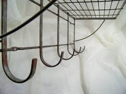 Wire Coat Rack With Shelf Vintage industrial Metal Shelf with Hooks Coat Rack Metal shelves 2