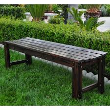 5 ft backless garden bench burnt brown view images