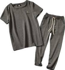 Shirts And Pants Mk988 Men Short Sleeve Linen 2 Pieces T Shirts And Pants Tracksuit Outfit Set