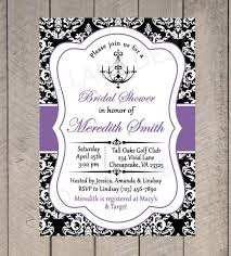 Black And Purple Invitations Bridal Shower Printable Invitation Chandelier Black White