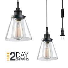 details about plug in hanging ceiling lamp pendant light clear glass shade fixture cord switch