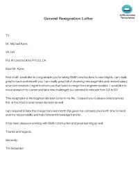 Job Resignation Letter Template General Resignation Letter Templates At
