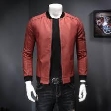 ihambing ang pinakabagong new men s baseball collar slim leather jacket korean casual pu leather jacket pinahusay