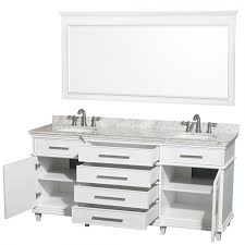 wyndham collection wcv171772dwhcmunrm70 berkeley double vanity white 72 inch with white carrera marble top with white