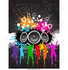 speakers art. pal clipart of a silhouetted colorful dance group with grunge and speakers art