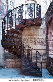 Beautiful old spiral staircase in Mehrangarh fort, Jodhpur, Rajasthan, India