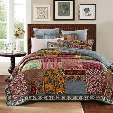 dada bedding collection reversible bohemian real patchwork 100 cotton dark elegance 3 piece fl quilt cover set king