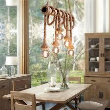 bamboo pendant light. 6 Lamp Industrial Vintage Hemp Rope Chandelier Pendant Light Bamboo Ceiling E27 /