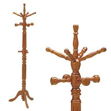 wood pole stands and thick type paul hanger coat rack hat shades brown wood
