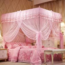 Amazon.com: Uozzi Bedding 4 Corners Post Pink Canopy Bed Curtain for ...