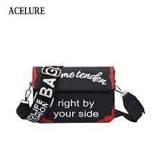 acelure high quality wide handle female shoulder bag letter pattern cross messenger bag pu leather casual small flap handbag leather goods branded bags