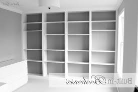Curved Wall Shelves Floating Six White Wooden Books Shelves Placed On The Soft Gray