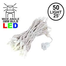 Warm White Led String Lights White Wire Commercial Grade Wide Angle 50 Led Warm White 25 Long White Wire