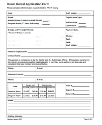 Room For Rent Application Room Rental Application Form Agreement Template 8 Sample