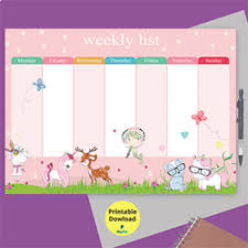 Weekly Timetable Planner Girl Daily Schedule Timetable Weekly Planner Printable Weekly Organiser Pink