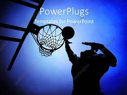 Basketball Powerpoint Template Powerpoint Template Silhouette Of Basketball Player In Court Rising