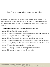 top 8 hvac supervisor resume samples in this file you can ref resume materials for hvac technician sample resume