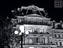 old architectural photography. A Black And White View Of The Old Executive Office Building At Night, Washington D.C. Architectural Photography Y