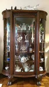 Antique glass curio cabinets online. Antique Wooden Curved Glass Display Cabinet Vitrine Buffet Victorian Solid Oak Ebay
