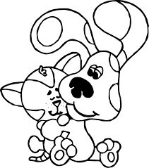 Small Picture Coloring Pages Kids Blues Clues Dog And Cat Coloring Page Blues