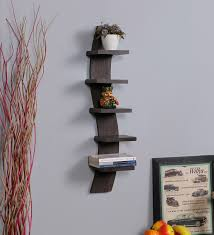 spine 5 tier wall shelf in brown finish by driftingwood