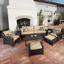 patio couch set deco  piece patio seating set with delano beige cushions