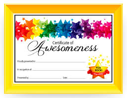School Certificate Templates Custom Certificate Of Awesomeness Dabbles Babbles