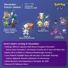 Pokémon GO November events lineup: pokemongo