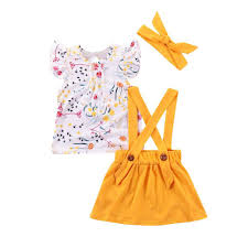 3pcs set cute kids girls flower sleeveless tops sling skirt headband 6 12m