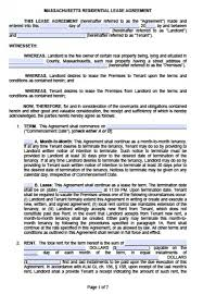 Free Massachusetts One (1) Year Residential Lease Agreement | Pdf ...