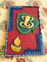 ganesha on leaf clay mural tutorial