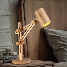 creative hand made desk lamp wooden stretchy table light bedroom luminaria de mesa lamp with