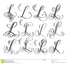 Lettering Letters Design Calligraphy Lettering Script Font L Set Hand Written Stock
