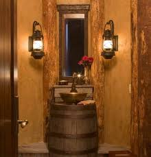 bathroom remarkable bathroom lighting ideas. stunning rustic bathroom lighting ideas wooden beam chandelier door and barrel with sink faucet remarkable
