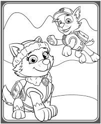 Everest And Rocky Coloring Page Paw Patrol Paw Patrol Coloring