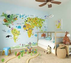 the whole wide world wallpaper wall mural by ohpopsi world map for young children showing