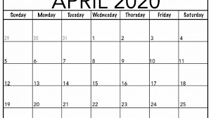 April 2020 Template Free April Calendar 2020 Free Printable Template Pdf Word Excel