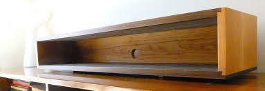 Walnut and Cherry Dovetail Floating Wall Box Console Shelf, Mid Century  Style