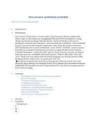 Etre Et Avoir Worksheet Printable