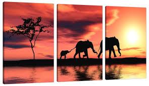 3 piece orange canvas art pictures africa elephants wall prints 3102 amazon uk kitchen home on african elephant canvas wall art with 3 piece orange canvas art pictures africa elephants wall prints 3102