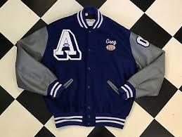 Delong Jacket Size Chart Delong Retro Blue Football Varsity Leather Wool Bomber Jacket Size Xl Ebay
