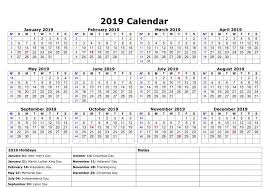 Calendar Year 2019 Printable Calendar Year 2019 Federal Holidays Littledelhisf Us
