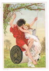 willimantic thread lovely young man woman on spool swing trade card