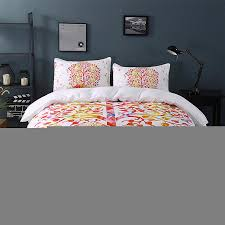 bedding white and red bedding set boho duvet cover and pillowcase indian style print exotic bedclothes