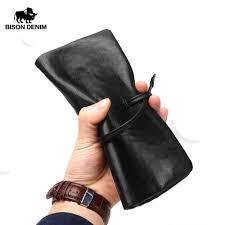 <b>BISON DENIM</b> Brand <b>Men</b> Genuine Leather Wallet With Zipper ...