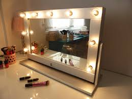 Vanity Mirror With Lights And Stand Tilted Hollywood Mirror