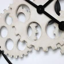 large wood metal gear skeleton wall clock