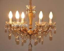 Antiker Jugendstil Kristall Kronleuchter Lüster Lampe 6 Flam
