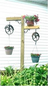 wrought iron hangers plant hanger stand outdoor hooks plan hanging plant hooks